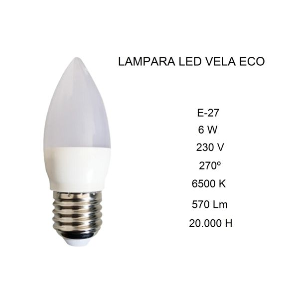 LAMPARA VELA LED E27 6W 3000/4000K FBRIGHT
